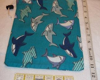 Blue Sharks Handmade Drawstring Bag