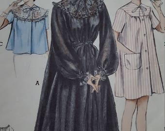 Vintage Butterick 5808 Peignoir Short Nightgown Bedjacket Size 14 Bust 32