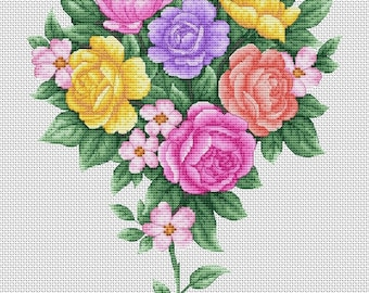 Cross stitch pattern - Bouquet with roses