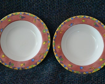 "SANGO china 2 (Two ) SOUP Bowls, SANGRIA, "" Strawberries "" # 3075 Red Rims,Sue Zipkin, Designer, Perfect Condition, Micro safe"