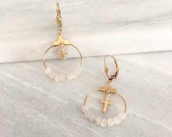 Hoop earrings, Moonstone or onyx beads