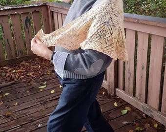 Peach Hand knitted Lace shawl, beautiful fine lace stitches, crescent shaped, hand dyed yarn
