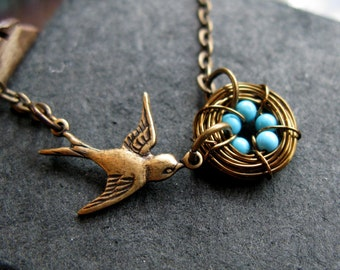 Mothers love necklace VI Our Big family bronze brass and turquoise hand woven nest bird sparrow necklace