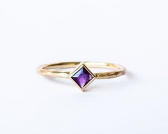 In stock- Square amethyst women's 10k gold rough ring, engagement ring
