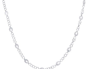 Sterling Silver Cable Chain with Open Oval Links, 18 inch