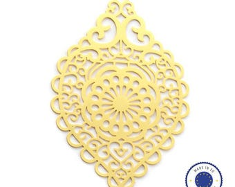 1 x pendant filigree drop 38x58mm - made in Europe - gold