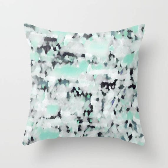 Patio Decor Outdoor Pillow Navy Grey Blue Mint White