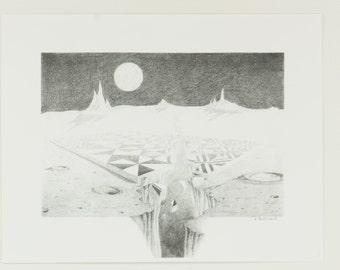 Moonscape Print, Moonscape Pencil Drawing, Nancy Little Art, Moonscape Pencil Drawing Print, Space Art, Moon Art, Moon Print, Space Print