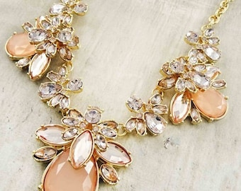 Peach Mix Statement Necklace!