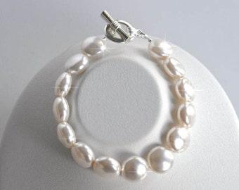 Handmade Swarovski White Coin Pearl Bridal Bracelet, Bridal, Wedding (Pearl-416)