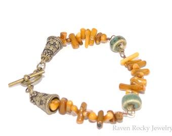 Coral Amber Stick Bead Bracelet