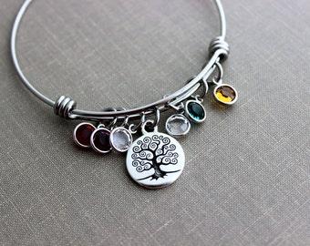 Family Tree bracelet, Grandma Jewelry, stainless steel adjustable bangle bracelet with Tree of life charm, Swarovski crystal birthstone, Mom
