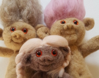 Hand Felted Trolls - Adorable Birthday Handmade Needle Felted Sculptures