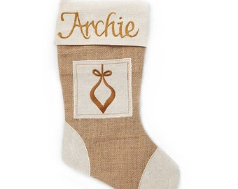 Personalised Burlap Bauble Christmas Stocking
