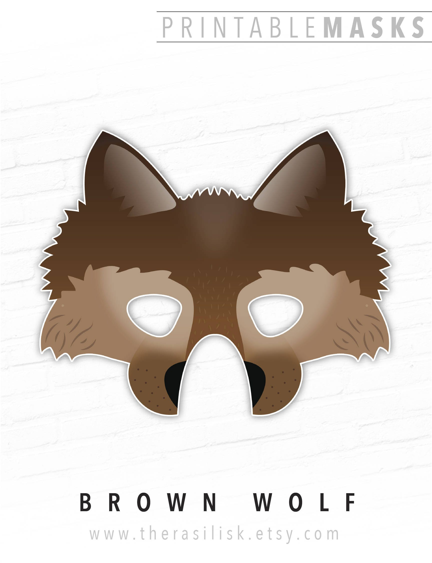 Impeccable image in printable wolf masks