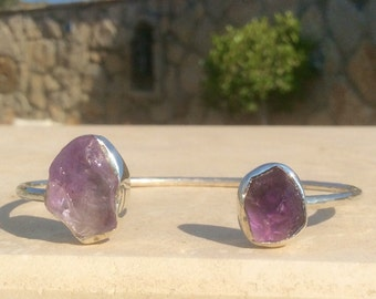 Silver Bangle with Raw Stones, Gemstone Open Bangle, Rough Stone Silver Open Bangle,  Purple Gemstone Bangle, Adjustable Silver Bracelets