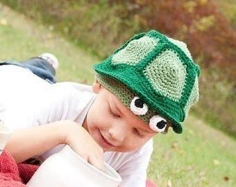 206 PDF Turtle Hat Crochet Pattern Infants to Adult sizes