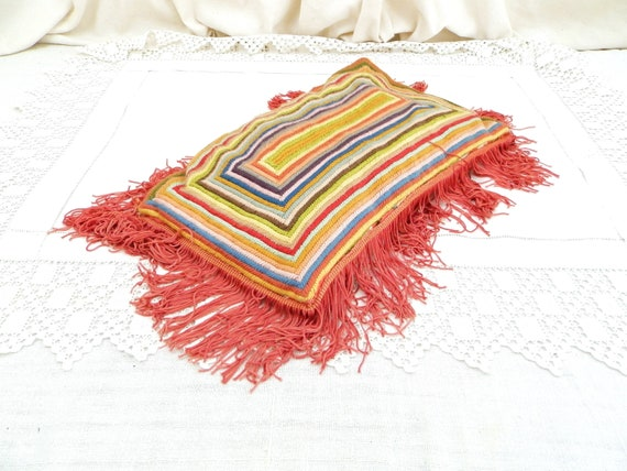 Vintage Hand Made Bohemian Style Fringed Tassel Multi Colored Embroidered Pillow, Rainbow Woolen Tapestry Rectangular Cushion, Gypsy Decor