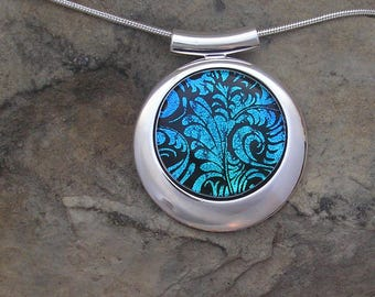 Teal Blue Dichroic Necklace Dichroic Fused Glass Silver Blue Pendant