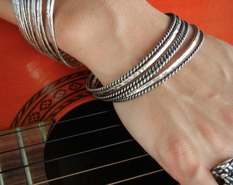 Sterling Silver Bracelet Set of 3, 3 Stacking Bracelets, Jewelry Sets, Bracelet Sets, 3 Artisan Bracelets, Artisan Bangles, Bangle Set of 3