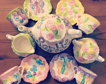 Personalized girls tea set // Butterfly Tea Party, Butterfly Little Girls China Tea Set, Handpainted, Custom, Personalized