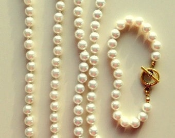 Pearl Necklaces and Bracelet Set - Swarovski Glass Pearls Necklace and Bracelet Set