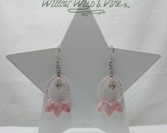 Czech Glass and Swarovski Earrings - Picasso Pink