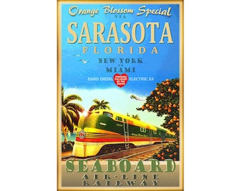 Sarasota Florida Orange Blossom Special Train Poster Seaboard Air Line Railway New York to Miami EMD E4 Diesel Art Print 284
