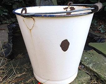 Shabby chic enamel bucket white