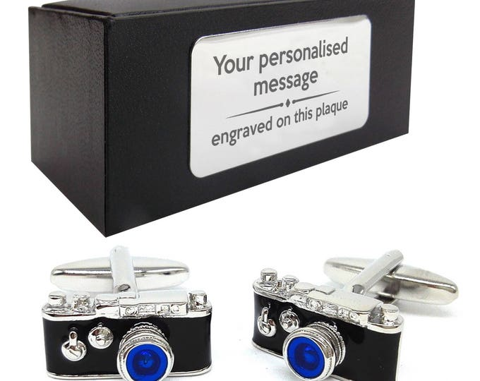 Wedding photographer, camera, photograph CUFFLINKS birthday gift, presentation box PERSONALISED customized ENGRAVED plate - 465