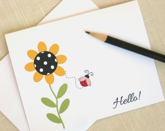 Sunflower Note Cards -  Ladybug Stationery -  Greeting Card Set - Polka Dot Note Cards - Set of 8
