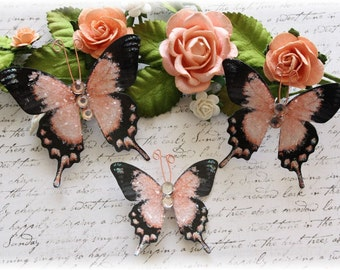 Apricot Glitter Glass Butterfly Die Cut Embellishments for Scrapbooking, Cardmaking, Tag Art, Altered Art, Mini Album