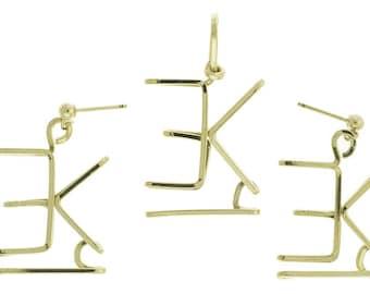Brand Earring Necklace Set, Ranch Brand, Family Brand, Cattle Brand, Custom Brand, Sterling Silver, Gold, Handmade, Custom Design