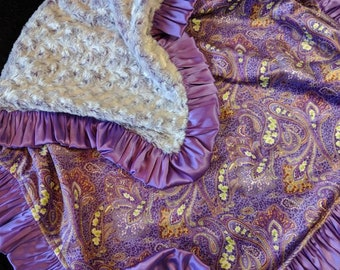 Purple Paisley Minky and Two Tone Purple and White Rosebud Minky Blanket with Satin Ruffle Trim Rustic Western Cowgirl