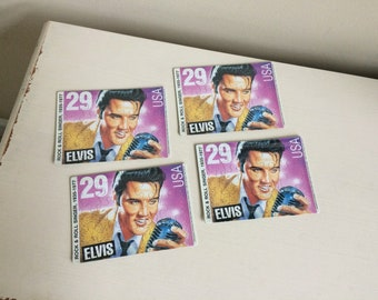 Vintage Elvis Presley Commemorative Stamp Puzzle Postcard Lot of 4 Unused New Sealed in Package 1992 Elvis Puzzle Post Card 29 Cent Stamp