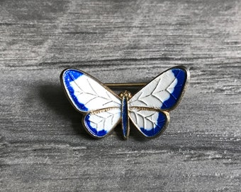 Vintage Abstract Blue and White Butterfly, Butterfly Brooch, Butterfly Pin, Gold mini Blue and White Butterfly Pin, spring jewelry, mothers