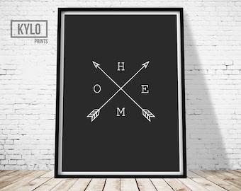 Home Arrow Print, Arrow Black and White Print, Wall Art Print, Home Print, Minimal Arrow Home Type, Elegant, Hipster Print, Minimalist Print