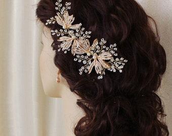 Bridal hair piece Bridal hair comb Wedding hair accessories  clip Bridal vine Bridesmaids hair piece Bridesmaids headpiece Pearl Rhinestone