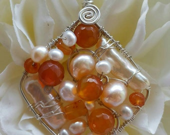 Wire wrapped Sterling silver one-of-a-kind Carnelian Pearl Square Pendant
