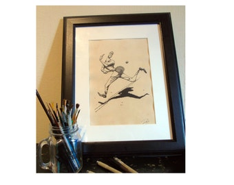 Tennis Player Back Pass Illustration / Wall Art / Sports / Picture / Art / Wimbeldon / Vintage Style / A4