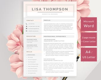 Beautiful Resume Template, 3 Pages Resume Template Word, Modern Resume For Any  Profession, Instant