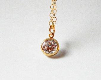 Solitaire diamond necklace Gold filled diamond necklace Simple small diamond bezel necklace Bridesmaid necklace CZ April stone