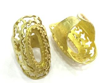 Raw Brass Ring Base Blank Adjustable   (22x10mm Blank) G3328