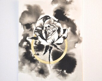 Original painting of a rose in ink and gold