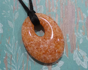 Oval Necklace, Brownish Orange Glass Pendant, Fused Glass Pendant, Autumn Donut Necklace, Ready to Ship, Fused Glass Jewelry - Harvest-6