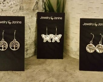 Dragonfly, Tree of Life or Butterfly Earrings on stainless steel or silver plated earwires