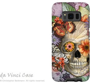 Butterfly Sugar Skull Case for Galaxy S8 PLUS - Day of the Dead Galaxy S 8 PLUS Case with Botanical Skull Art - Butterfly Botaniskull