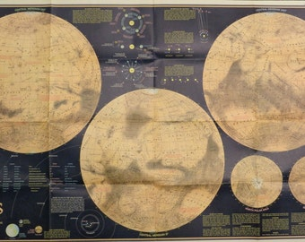 "Folded Map Mars Astronomy Planet 1973 National Geographic 24"" x 36"""