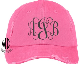 Monogrammed Distressed Hat Monogram Cap  unstructured, cotton twill low profile, buckle back, ball cap, summer cap, beach hat, pink, coral