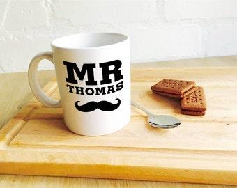 Valentine's Mug Personalised 'Mr Moustache.......i love you' Romantic Valentines Mug, Valentines Gift, Mr Mug, moustache, mug gift, love mug